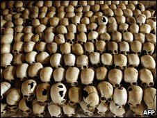 Skulls of victims of the Ntarama massacre during the 1994 genocide in Rwanda