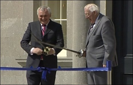 For their last official appearance before leaving office, Bertie Ahern and Ian Paisley open the Boyne Interpretive Centre just outside Drogheda