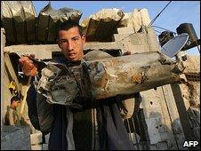 Missile fragment from overnight raid on Jabaliya, northern Gaza