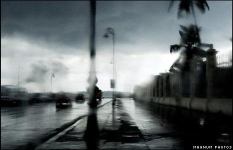 Stormy street scene