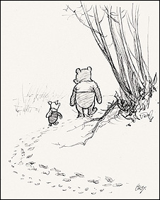 He went on tracking, and Piglet... ran after him