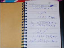 Diary page showing al-Qaeda contacts