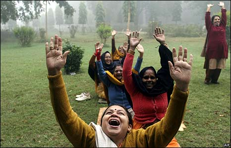 Local women exercise in Chandrasekhar Azad garden in Allahabad, India