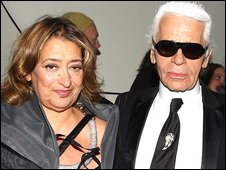 Zaha Hadid and  Karl Lagerfeld attend the opening party for Mobile Art in New York