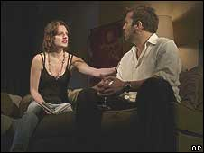 Elisabeth Moss and Jeremy Piven in Speed-the-Plow