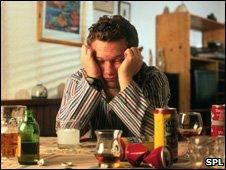 Man with hangover