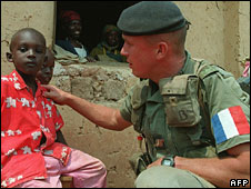 French soldier with Tutsi refugee