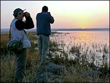 Birdwatchers at Kuyucuk lake