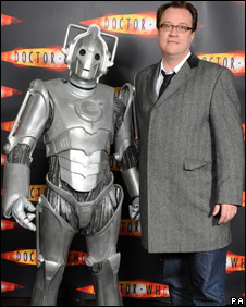 Cyberman and Russell T Davies at Thursday's launch of Dr Who Christmas Special
