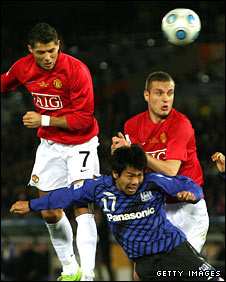 Cristiano Ronaldo and Nemanja Vidic