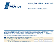 HMRC form for reclaiming childen's tax credit