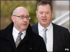 Lord Kirkham (right) arrives at Doncaster Crown Court