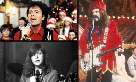 Clockwise, from top left: Cliff Richard, Wizzard's Roy Wood and Kirsty MacColl