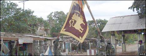 Sri Lankan troops near Kilinochchi on 12 December
