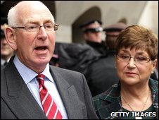 Andrew and Monica Nickell outside the Old Bailey