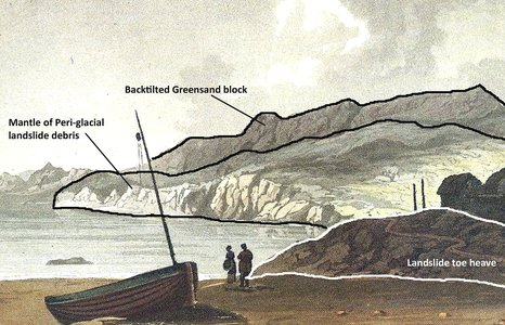 Ventnor Cove' by Charles Raye, 1825. The view shows Ventnor before its development and the geological structure of the coastal zone can be clearly identified.