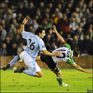 Racing Santander 3; Manchester City 1 at their Uefa Cup match.