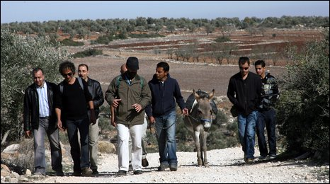 BBC's Aleem Maqboul has company as he walks near Nablus