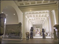 Inside gallery room in British Museum
