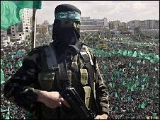 Hamas gunman at Gaza rally - 14/12/2008