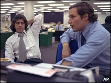 Reporters Carl Bernstein and Bob Woodward in the Washington Post newsroom in 1973