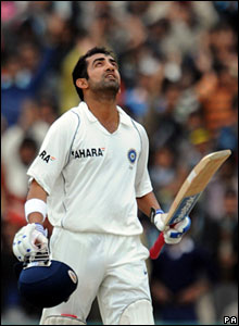 Gautam Gambhir looks to the heavens after reaching his century