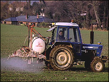 Crop-spraying tractor in UK