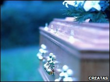 A coffin and flowers