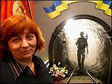 Natalia Tkacheva runs a museum dedicated to the Ukraina mine