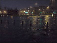 Flooding at a roundabout in Greenock (Pic by Michael Davis)
