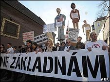 Czech protest against radar base, 15 Mar 08