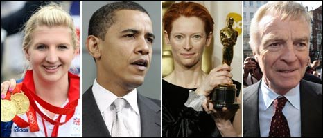 Rebecca Adlington, Barack Obama, Tilda Swinton and Max Mosley