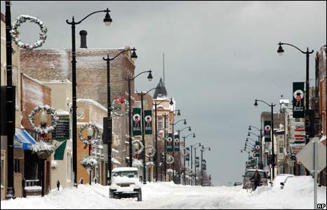 Empty snow covered street in Racine, Wisconcin, US