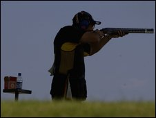 Michael Diamond of Australia in the Mens Double Trap Pairs shooting event held in Bisley, Surrey during the 2002 Commonwealth Games