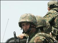 Грузинские солдаты во время войны (фото 10 августа)