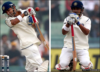 Gautam Gambhir ducks a bouncer and then sinks to his knees