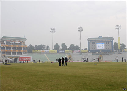 The mist descends on the stadium in Mohali