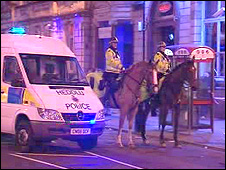 Mounted police in Cardiff