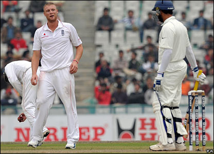 Andrew Flintoff exchanges a few words with Yuvraj Singh