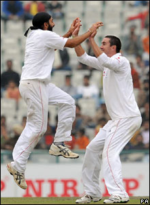 Monty Panesar leaps for joy after dismissing Yuvraj Singh