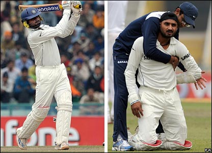 Harbhajan Singh hits out, before being treated by the India physio