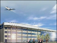 Artist's impression of new Carlisle Airport building
