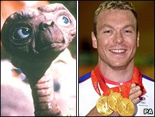 ET and Chris Hoy (picture credit: UIP and PA)