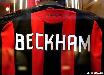 David Beckham AC Milan football shirt