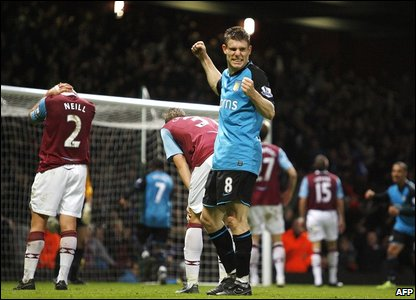 But there is a decisive moment and it falls to James Milner when his deflected shot loops into the West Ham net