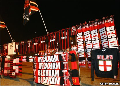 Stall selling David Beckham scarves