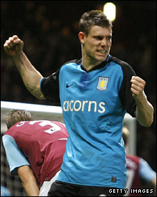 James Milner celebrates after scoring Villa's winner