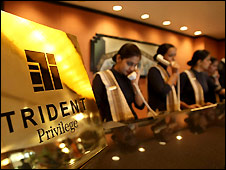 Receptionists at Trident hotel on eve of re-opening - 20/12/2008