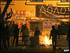 Protesters' barricade outside the Athens Polytechnic - 20/12/2008