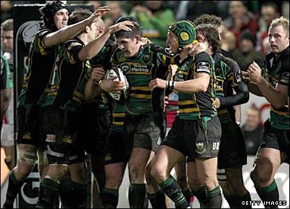 Northampton celebrate James Downey's try